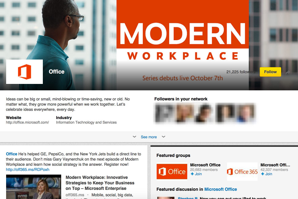 MS Office LinkedIn Showcase Page