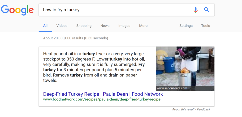 Google Answer Box Example