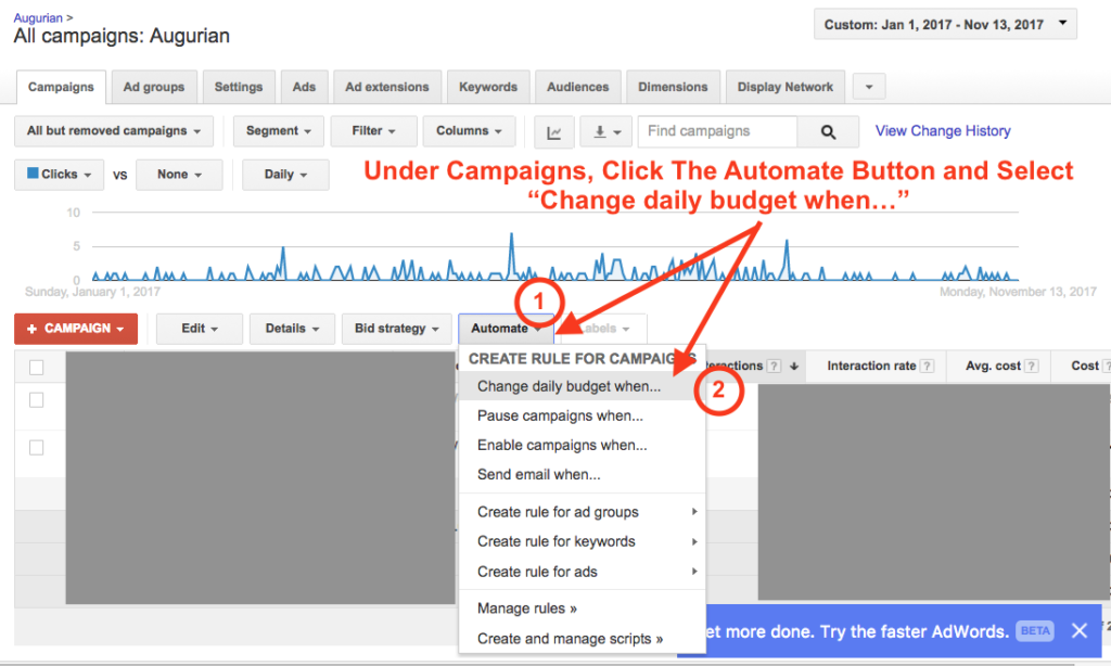 Automated Budget Rule AdWords Step 1