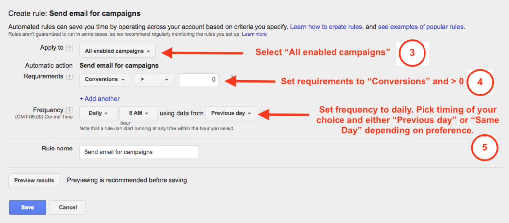Automated Conversions Rule Step 2
