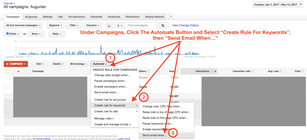 Automated Impressions Rule AdWords Step 1