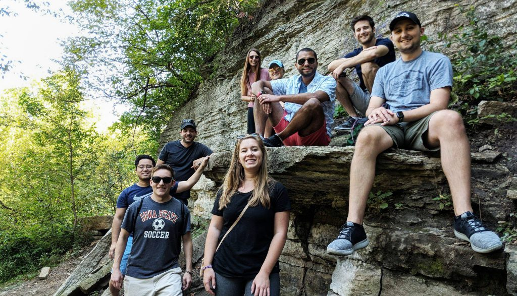 Picture of Augurian employees at Minnehaha Falls.