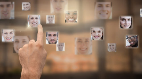 Picture of faces in profiles representing advertising targeting
