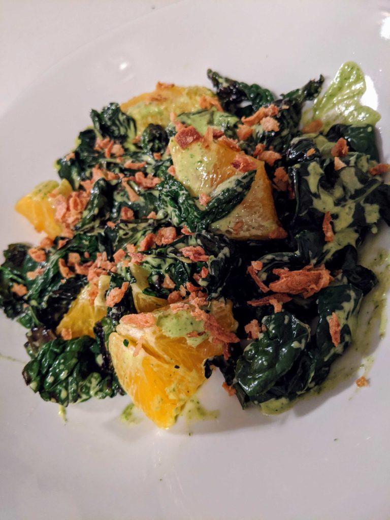 Charred Kale & Citrus Salad with Tahini-Cilantro Dressing
