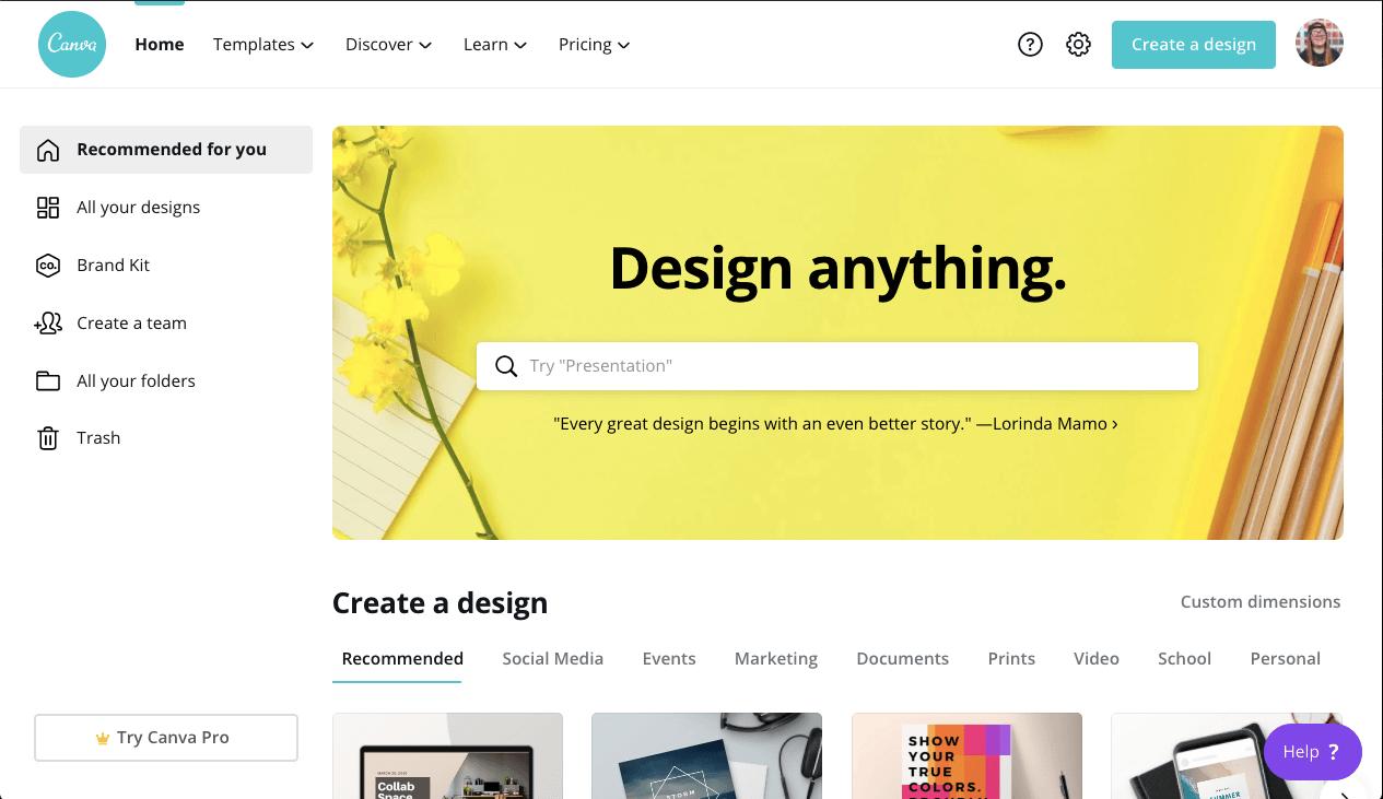 Screenshot of Canva Content Marketing Tool