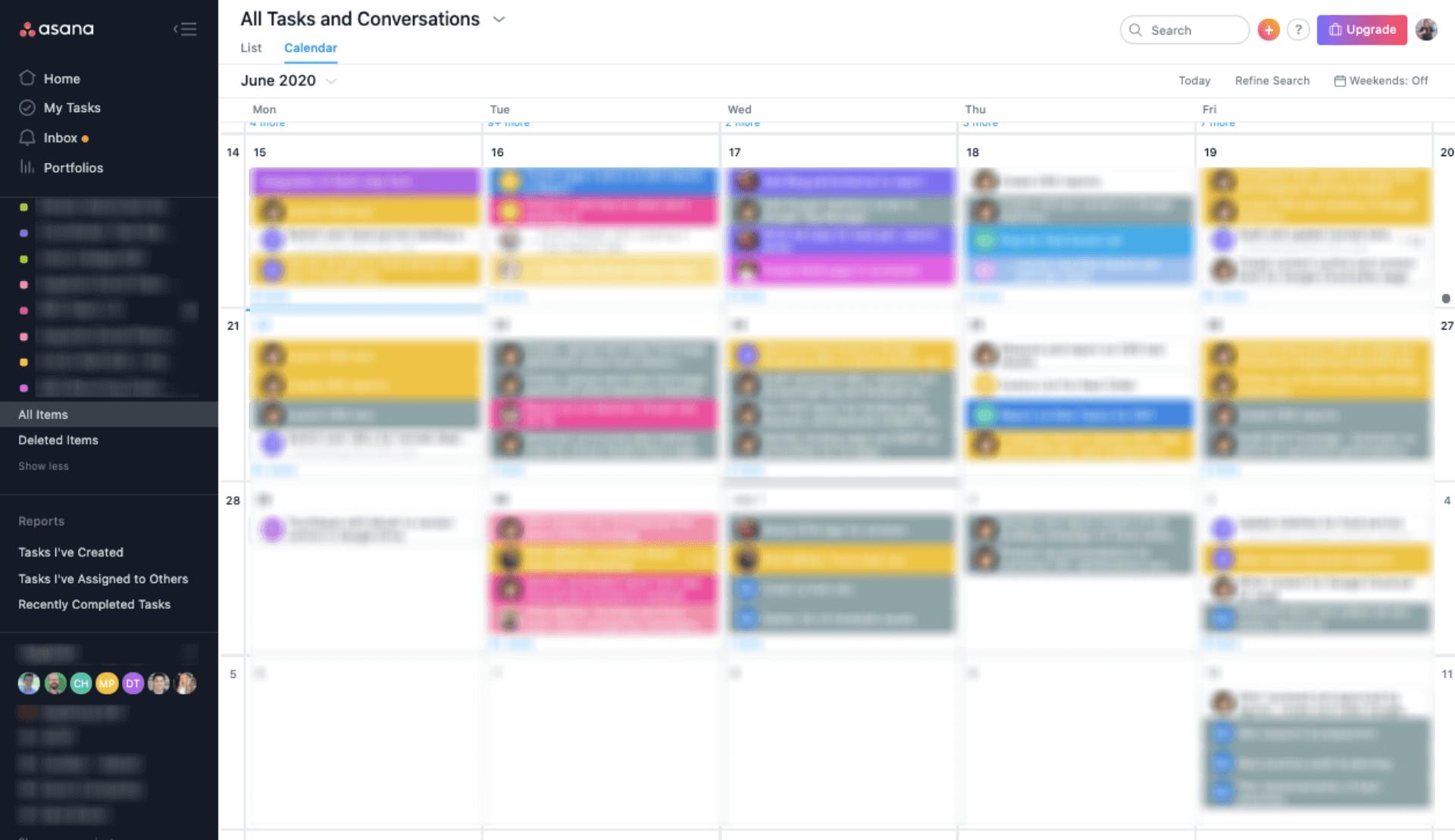 Screenshot of ASANA Content Marketing Tool