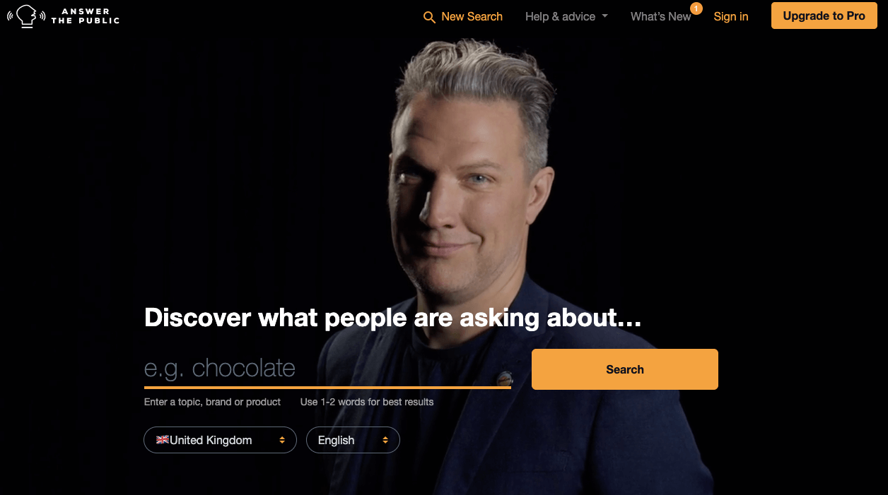 Screenshot of AnsweThePublic Content Marketing Tool