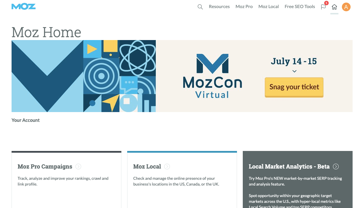 Screenshot of Moz Content Marketing Tool