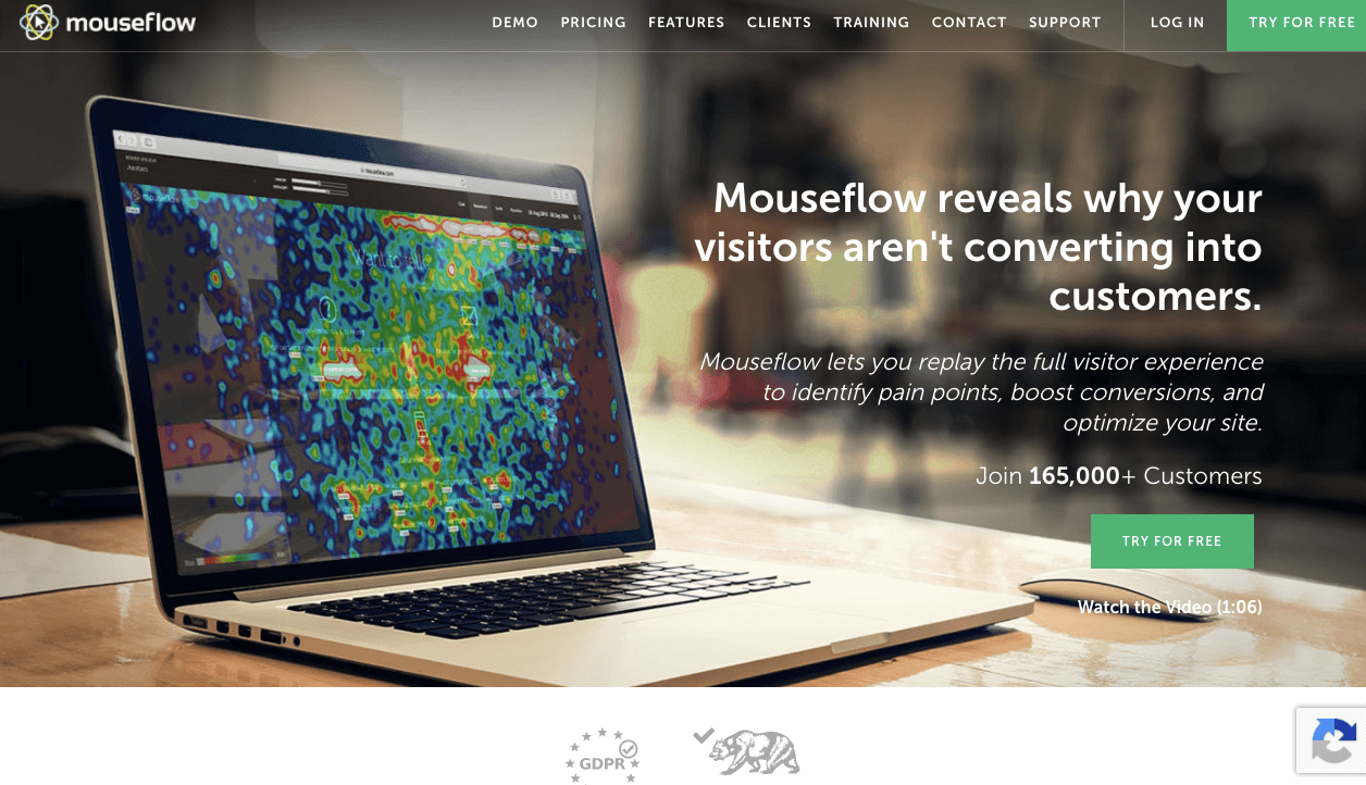 Screenshot of Mouseflow Content Marketing Tool
