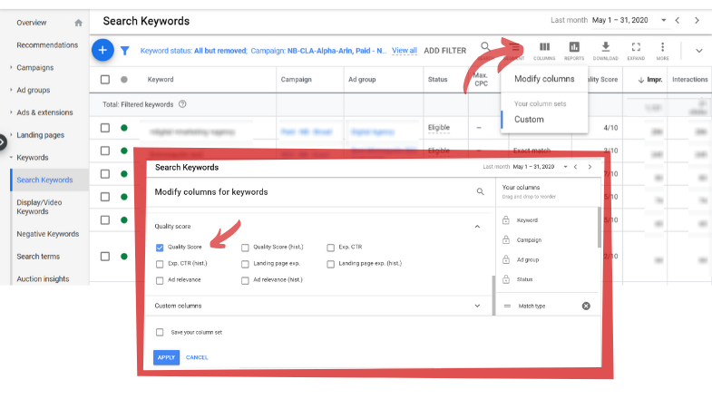 Where to find quality score in Google ads