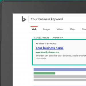 Image of a computer screen showing a paid ad on Bing