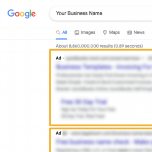 Image of a paid ad on Google